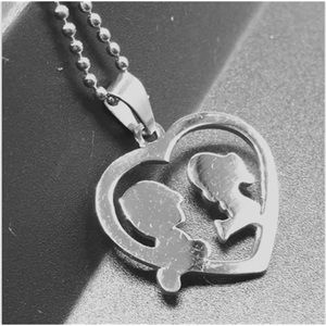 Jewelry - Boy & Girl Stainless Steel Heart Charm Necklace